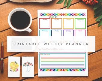 Printable Weekly Planner Calendar + Meal Menu Planner **** Chevron Rainbow - PDF