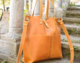 Yellow leather bag, Camel Leather Tote, Big leather tote, Leather tote woman, Large leather tote, Leather tote women, Leather handbag