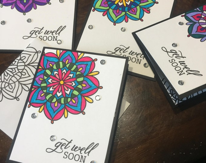 Handmade Card, Stamped Card, Hand-colored Card, Mandala Card, Get Well Card, Customizable Card,  Card Set, All Occasion Card