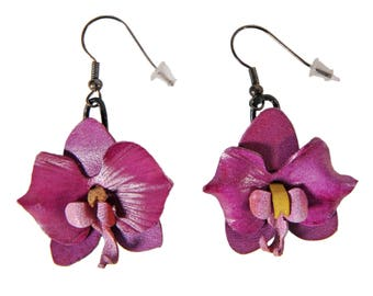 Flower Earrings plum orchids in bloom with cowhide leather