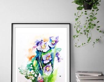 Aquarelles originales original watercolor par for Aquarelle fleurs livraison gratuite