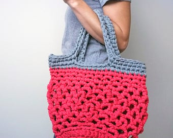 eco shoulder bag, crocheted bag, pink and grey bag, holiday beach bag, knitted tote bag, string style shopper, mothers day gift, eco gift