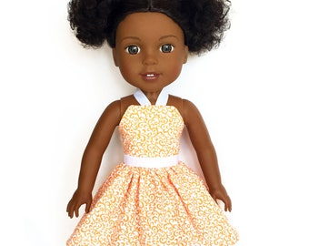 Halter Dress, Floral, Orange, White, 14.5, Fits dolls such as AG, Wellie Wishers, 14 inch Doll Clothes
