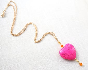 Summer Party Heart Necklace Thin Gold Chain fuchsia PINK Heart Orange Crystals Colorful Necklace Bright Sari Colors Heart Charm Unique Gift