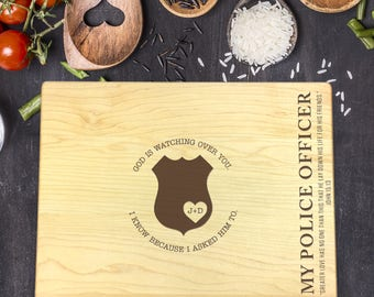 Custom Cutting Board, Custom Cutting Board Police Officer, Cutting Board Wood, Policeman Gift, Policeman Prayer, Policeman Wife, B-0107