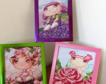 Set of Three Cute Fairies Embroided with Beads