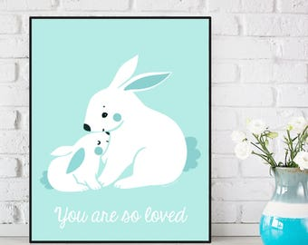 Nursery decor, Children poster, Nursery poster, Bunny poster, Nursery quote art, Child room decor, Illustration art, Baby children gift