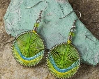 5.7cm String Earrings - Rainbow Earrings, Boho Earrings, Thread Earrings, String Art Colorful Earrings, Lightweight Earrings J1151