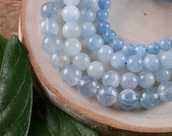 AQUAMARINE Power Bracelet - Aquamarine Jewelry, Aquamarine Bracelet, Aquamarine Crystal, Bead Bracelet, Aquamarine Bead Bracelet E0571