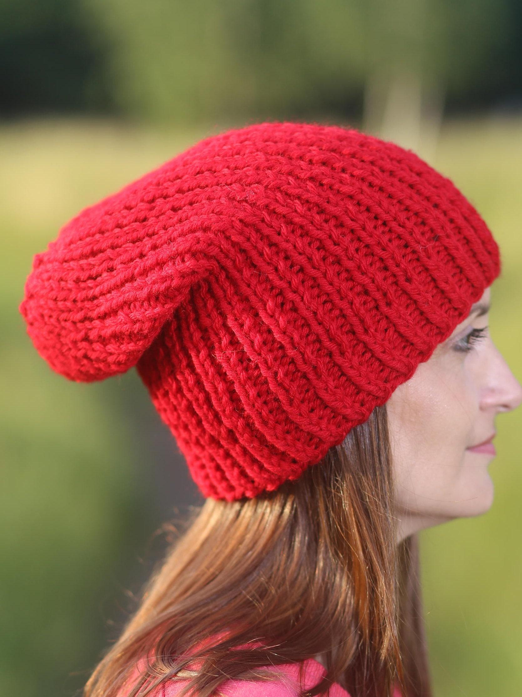 Red women hat Beanie hat Knit hat Winter hat Red slouchy hat