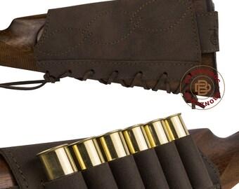 Leather Buttstock Cartridge Holder 12 16 Ga 7.62 cal Ammo Rifle Hunting Stock