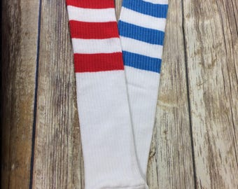 Blue and Red stripe leg warmers combo for Harley Quinn outfit Halloween Costume for kids. Harley Quinn leggings. Harley Quinn socks