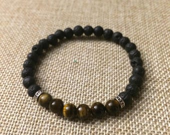 Tigers Eye Essential Oil Lava Rock Bracelet 6mm