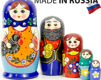 """Nesting Doll - """"Village Family"""" - 5 dolls in 1 - MEDIUM SIZE - Hand-painted in Russia"""