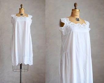 antique cotton nightgown   vintage 1920s cotton and eyelet lace dress   vintage white cotton midi nightgown   20s cotton sleep chemise