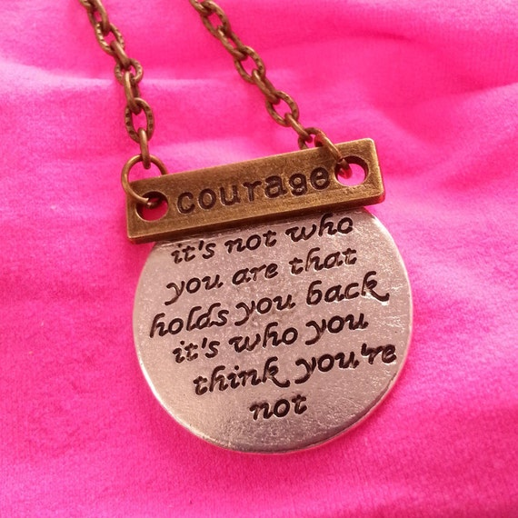 Courage Charm Necklace, CrossFit Fitness Jewelry, COURAGE Charms, Inspirational Quotes Gifts, Encouragement Word Charms, Gifts for Runners