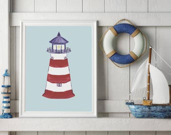 Lighthouse Art, Lighthouse Print, Kids Beach Art, Nautical Nursery, Nautical Kids Room, Kids Gift, Kids Art, Kids Prints