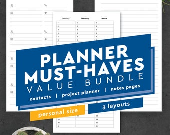 Contacts Address Book Printable -  Personal Size Planner Inserts: Fits Filofax Personal Compact, Kikki K Medium, 3.75 x 6.75, Habit Tracker