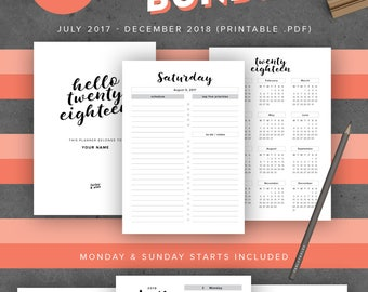 2017-2018 Printable Planner Agenda, A5 Size Inserts: Fits Filofax A5, Kikki K Large, Filofax A5 Compact 5.8 x 8.3, Back to School September
