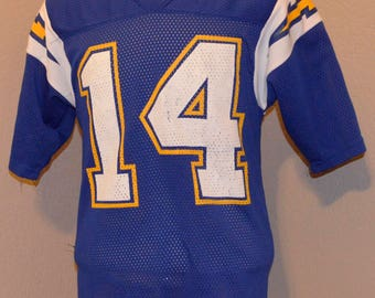 Vintage San Diego Chargers Jersey Dan Fouts M Medium Poly 70's