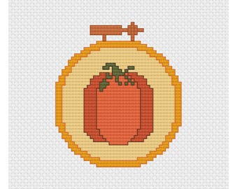 Pumpkin Needlepoint in Embroidery Hoop Cross Stitch Pattern