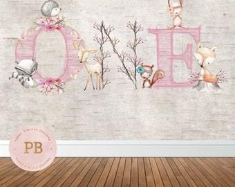 Digital Woodland Birthday Backdrop, Woodland Baby Shower Backdrop, Woodland Animal, First Birthday Backdrop, Sweet Table,Deer Invitation-Pri