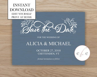 Diy save the date etsy diy save the dateinstant digital downloadbluerustic junglespirit Image collections