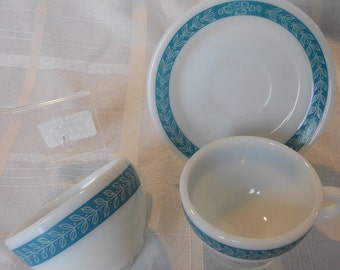 Blue (Teal) Laurel Leaf by Pyrex/Corning - 1 saucer and 2 coffee cups.