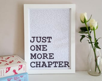 Just One More Chapter - Literary Print - Mother's Day Gifts - Gift for Book Lover - Reading Nook Decor - Book Wall Art - Reading Quote