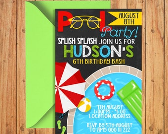 Pool Party Birthday Invitation | Swimming Boy 1st Birthday Invite | splish splash  | DIGITAL FILE - PRINTABLE