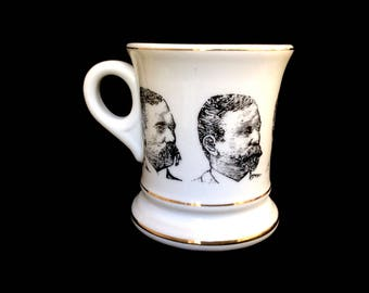 Vintage Mustache Mug Cup Five Faces Sporting Facial Hair