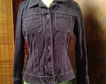 Dark indigo cotton jacket with whit detailed sticking detail cropped denim jacket size medium