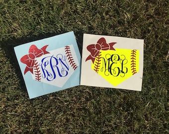 Baseball, Softball Monogram Decal