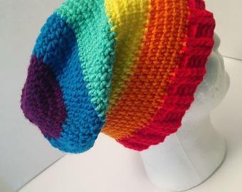 Adult Female and Male Rainbow Crochet Slouch Beanie