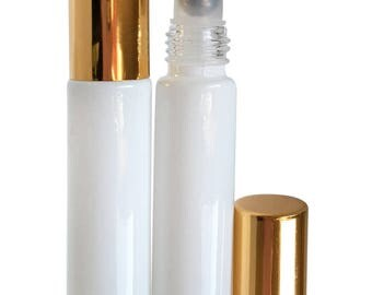 Glossy White Glass 10 ml. Roller Bottles with Stainless Steel Rollers