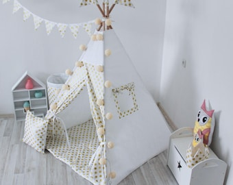 READY TO SHIP! Golden Dots Teepee, Tipi, Play Tent, Play House, Nursery, Teepee Tent, Kids Teepee, Wigwam, Indoor
