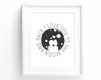 I Love You To The Moon And Back Print - Quote Print - Typography Print - Minimal Print - Gifts Under 20 - Art Print - Home Decor