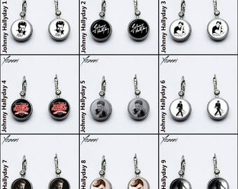 """Snap Earrings """"Johnny Hallyday"""" Silver Colored,Snap button 18/20mm, Different Styles and Patterns, Chunks, Charms, Noosa Style, Ginger Style"""