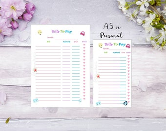 Bills To Pay | A5 | Personal | Printed | Planner | Insert | Budgeting | Finance | Money | Filofax | Kikkik | 12 pieces