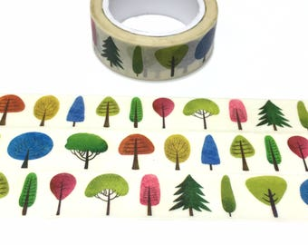 colorful tree washi tape 7M fairy tale forest pine tree oak tree fir tree rainforest forest Tree Christmas tree landscape sticker tape decor