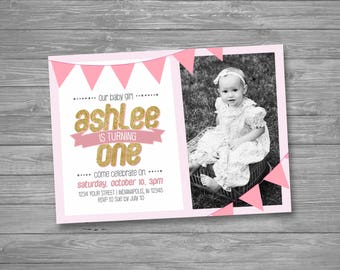 One Year Old Invite Etsy - Birthday invitation 1 year old baby girl