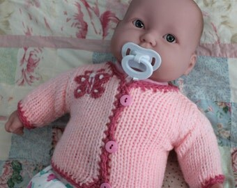 Hand-Knit Pink or White Butterfly Sweater Cardigan for Newborn Babies, Acrylic.