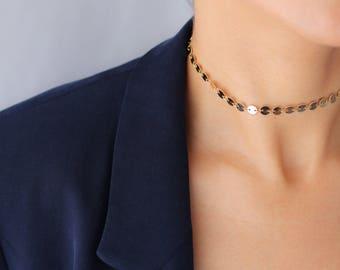 Coin Choker Necklace - Gold Choker - Gold Disc Necklace - Gold Coin Necklace - Sequin Choker - Statement Necklace - Bohemian Choker