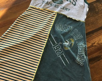 Green Bay Packers t-shirt dress; upcycled t-shirt dress