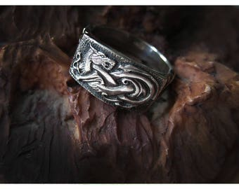 silver Celtic ring, Viking silver ring, Mens silver ring, Handmade ring, Sterling silver ring, Wolf ring, Celtic Jewelry, Mens Jewelry,