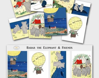 Digital Collage Sheet BABAR THE ELEPHANT Printable Gift Tags, New Baby Shower Art (Download 2.5 x 3 inch Images)