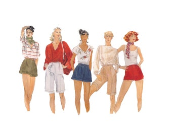 Vogue 7092, sewing pattern, waist 26 1/2, pleated shorts, cuffed shorts, high waisted bermuda shorts summer