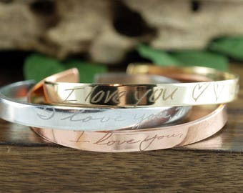 Actual Handwriting Cuff Bracelet, Signature Cuff Bracelet, Engraved Cuff Bracelet, Personalized Gift, Engraved Bracelet, Memorial Jewelry