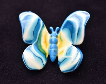 """Vintage Blue Enamel Metal Butterfly Brooch Coat Sweater Pin Marked Made In W Germany Retro Insect Costume Jewelry 1.75"""""""