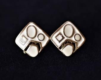 "Vintage Enamel Abstract Geometric Earrings Clip On Boho Mod Retro Minimalist Costume Jewelry 1/2"""